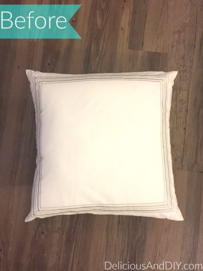 A plain white pillow cover before its stenciled makeover. http://www.cuttingedgestencils.com/roses-stencil-pattern-rose-design.html