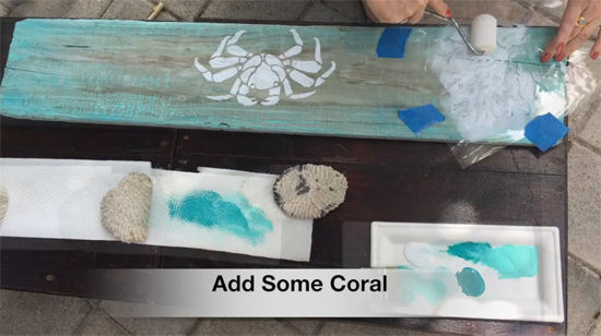 Learn how to stencil a piece of driftwood art using the Nautical Stencils like the Crab and Coral patterns from Cutting Edge Stencils. http://www.cuttingedgestencils.com/beach-decor-stencils-designs-nautical.html