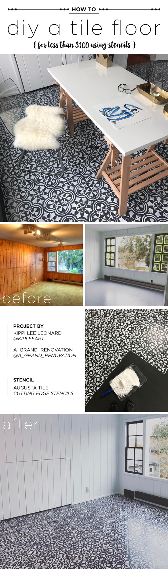 Cutting Edge Stencils shares how to make over an old floor on a budget using the Augusta Tile Stencil. http://www.cuttingedgestencils.com/augusta-tile-stencil-design-patchwork-tiles-stencils.html