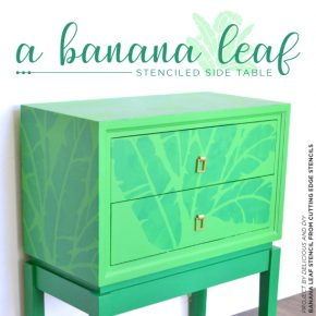 Cutting Edge Stencils shares a DIY stenciled green side table using the Banana Leaf Allover Stencil. http://www.cuttingedgestencils.com/banana-leaf-stencil-tropical-wallpaper-palm-leaves-print.html