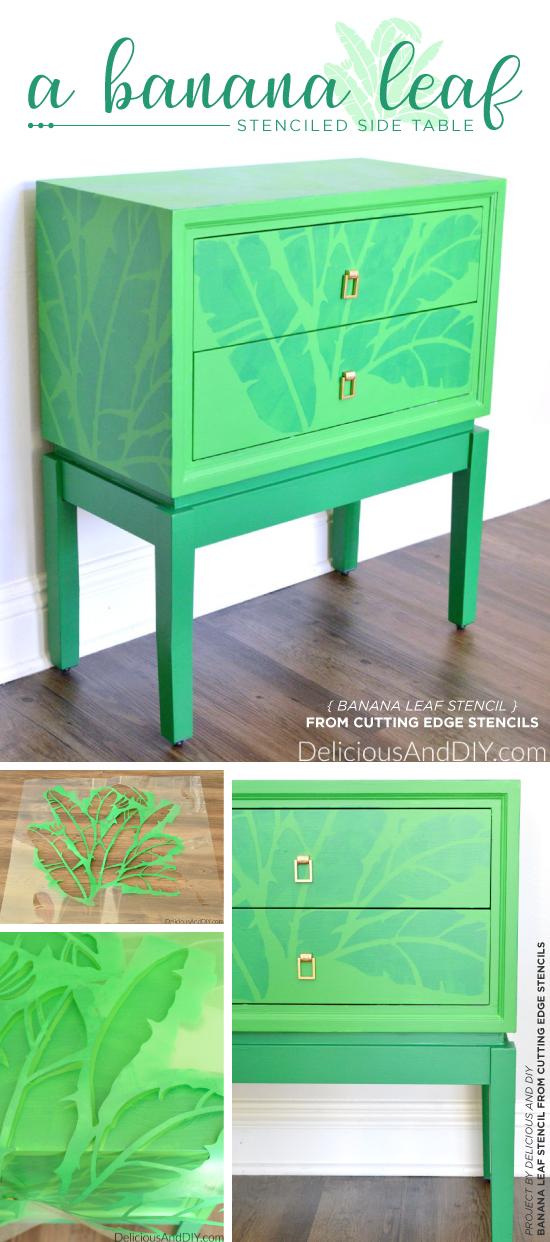 Cutting Edge Stencils Shares A DIY Stenciled Green Side Table Using The Banana Leaf Allover Stencil