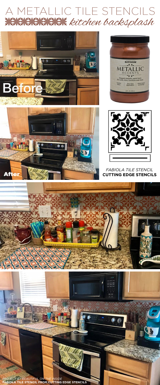 Cutting Edge Stencils shares a DIY metallic copper stenciled kitchen backsplash using the Fabiola Tile Stencil. http://www.cuttingedgestencils.com/fabiola-tile-stencil-spanish-portugese-tiles-stencils.html