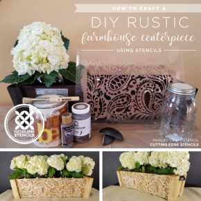 Cutting Edge Stencils shares how to make a DIY rustic, farmhouse style centerpiece using a plain box and the Paisley Craft Stencil. http://www.cuttingedgestencils.com/paisley-pattern-craft-stencils-for-home-decor-projects.html