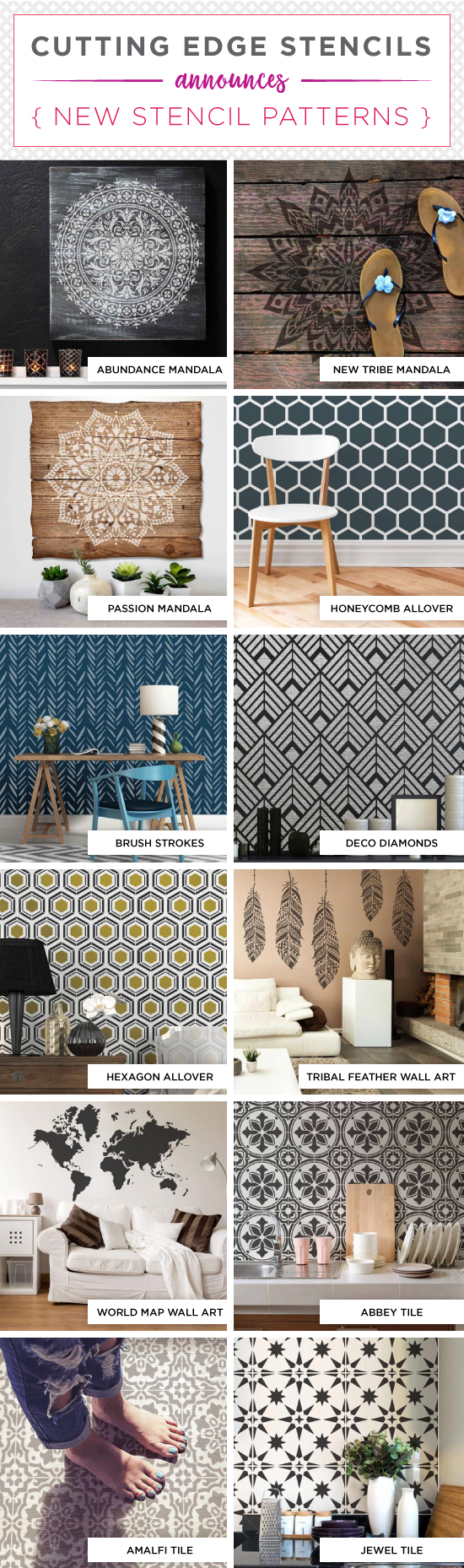 Cutting Edge Stencils shares a NEW collection of wall patterns that include Mandala designs, tile stencils, and geometrics. http://www.cuttingedgestencils.com/wall-stencils-stencil-designs.html