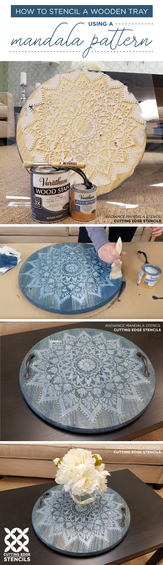cutting edge crafts how to stencil a wooden tray using a mandala pattern 1831
