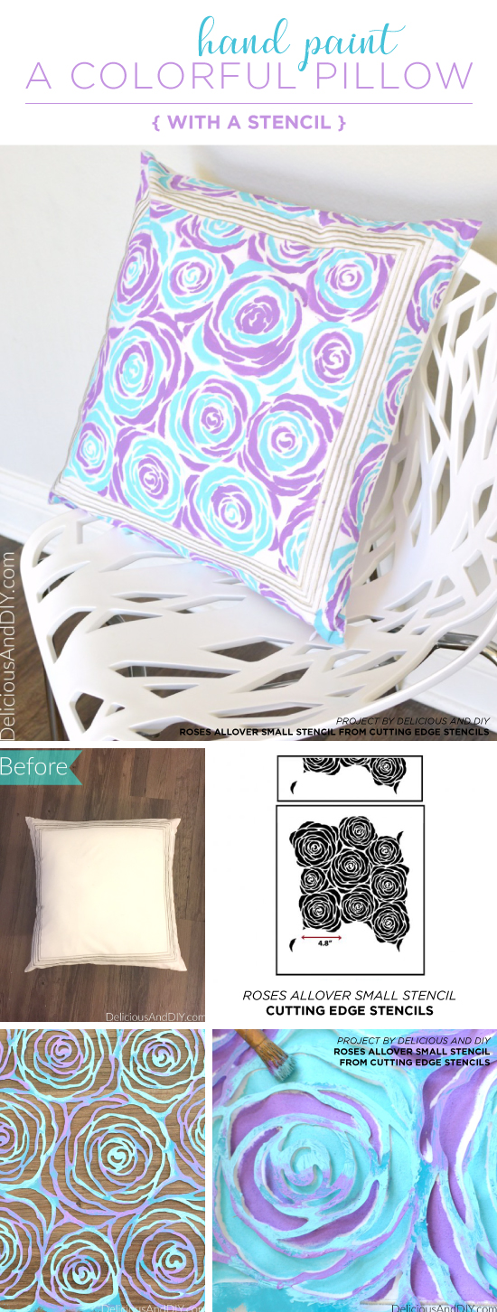 Cutting Edge Stencils shares how to stencil a pillow cushion using the Roses Allover Stencil. http://www.cuttingedgestencils.com/roses-stencil-pattern-rose-design.html