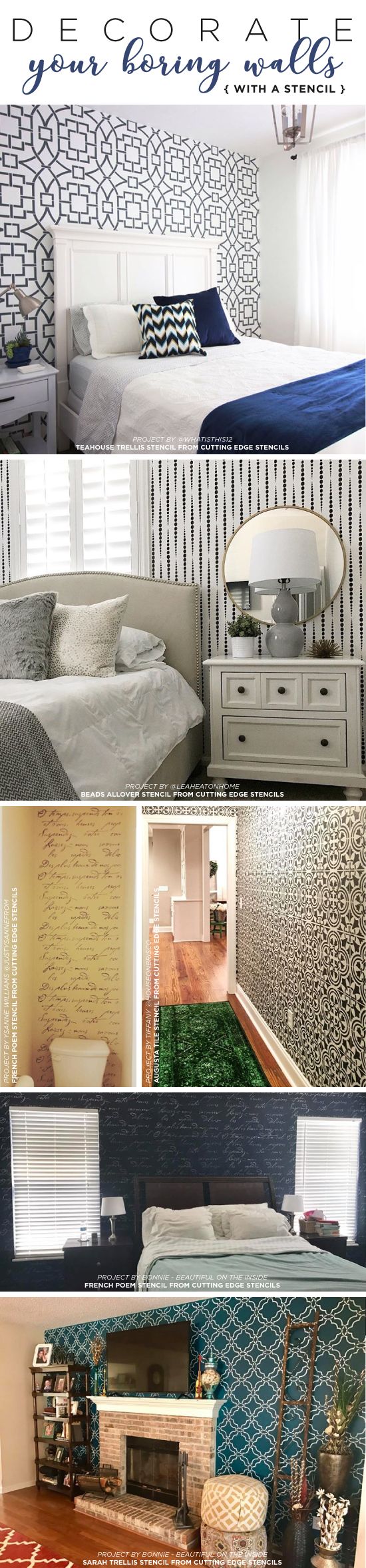 Cutting Edge Stencils shares easy and affordable DIY decorating ideas for accent walls using stencil patterns. http://www.cuttingedgestencils.com/wall-stencils-stencil-designs.html