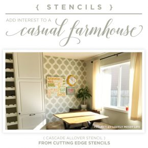 Cutting Edge Stencils shares a DIY stenciled farmhouse kitchen accent wall using the Cascade Allover Stencil. http://www.cuttingedgestencils.com/cascade-allover-stencil-pattern.html