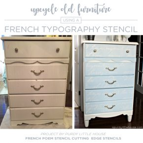 Cutting Edge Stencils shares a dresser makeover using the French Poem Allover Stencil, a typography pattern. http://www.cuttingedgestencils.com/french-typography-letter-wall-stencil.html