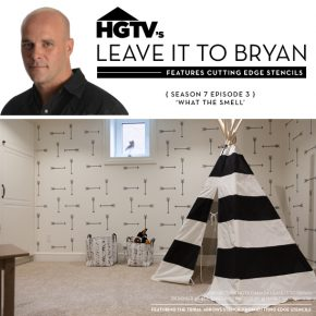 Cutting Edge Stencils was featured on HGTV's Leave It To Bryan show where they stenciled a basement accent wall in a makeover. http://www.cuttingedgestencils.com/tribal-arrow-pattern-stencils-wall-decor.html