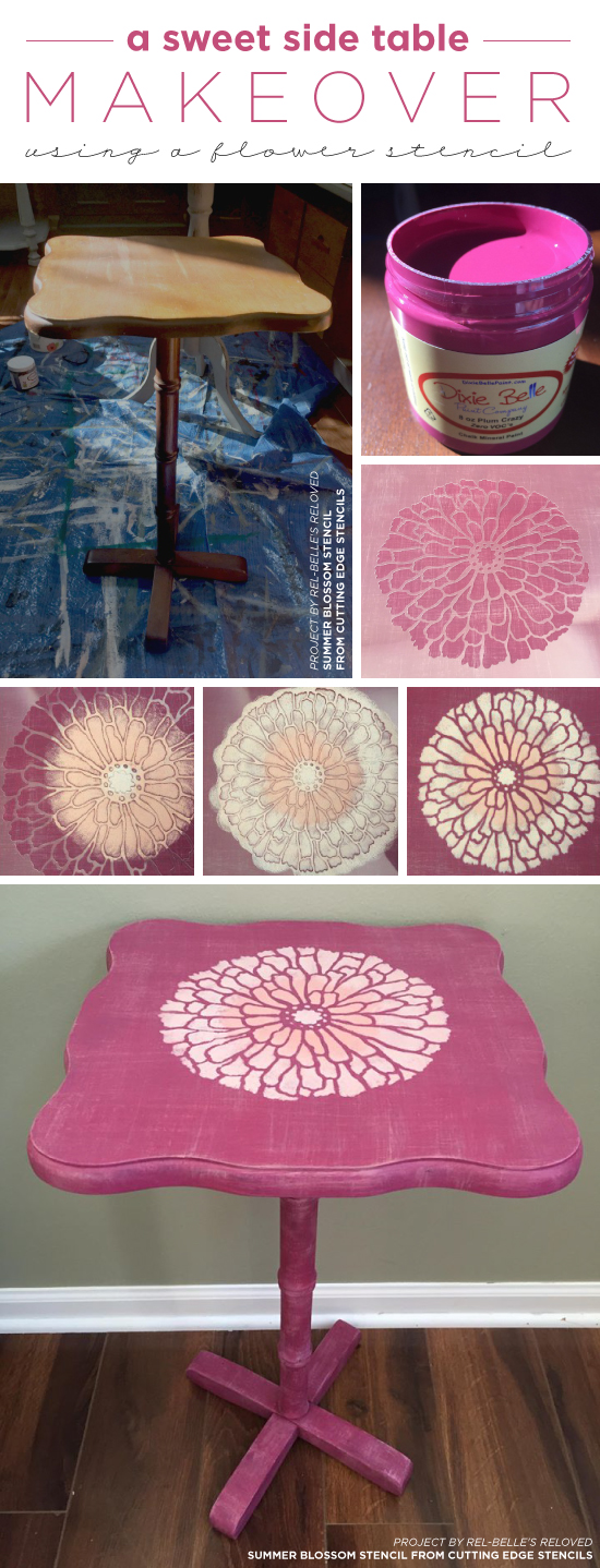Cutting Edge Stencils shares A pretty pink DIY painted and stenciled side table using the Summer Blossom Flower Stencil. http://www.cuttingedgestencils.com/flower-stencils-summer-blossom-floral-wall-stencil-design.html