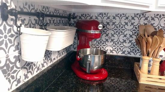 A DIY stenciled faux tile kitchen backsplash using the Fabiola Tile Stencil from Cutting Edge Stencils. http://www.cuttingedgestencils.com/fabiola-tile-stencil-spanish-portugese-tiles-stencils.html