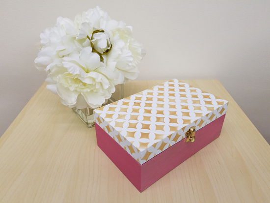 Cutting Edge Stencils shares how to stencil a wooden jewelry box in blush gold and pink using the Nagoya Card Stencil and craft paint. http://www.cuttingedgestencils.com/nagoya-handmade-card-craft-stencils-templates.html