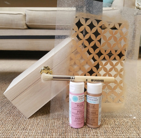 Learn how to stencil a wooden jewelry box from Michaels $5.99 using the Nagoya Craft Stencil from Cutting Edge Stencils. http://www.cuttingedgestencils.com/nagoya-handmade-card-craft-stencils-templates.html