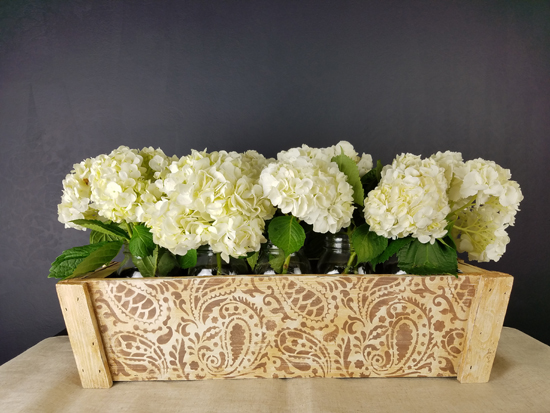 Cutting Edge Stencils shares a tutorial on how to make and stencil a rustic farmhouse style centerpiece using the Paisley Craft Stencil. http://www.cuttingedgestencils.com/paisley-pattern-craft-stencils-for-home-decor-projects.html