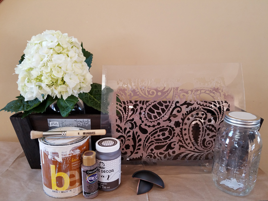 The supplies needed to transform a plain wooden planter from Home Depot into a rustic farmhouse centerpiece using the Paisley Craft Stencil from Cutting Edge Stencils. http://www.cuttingedgestencils.com/paisley-pattern-craft-stencils-for-home-decor-projects.html