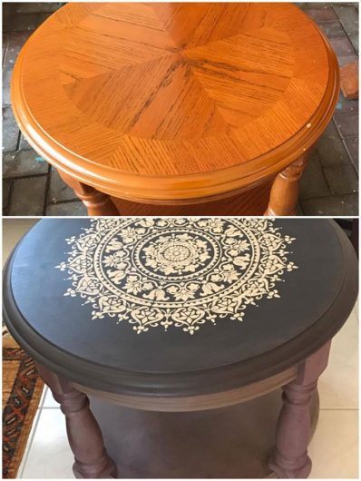 A painted and stenciled table makeover using the Prosperity Mandala Stencil from Cutting Edge Stencils. http://www.cuttingedgestencils.com/prosperity-mandala-stencil-yoga-mandala-stencils-designs.html
