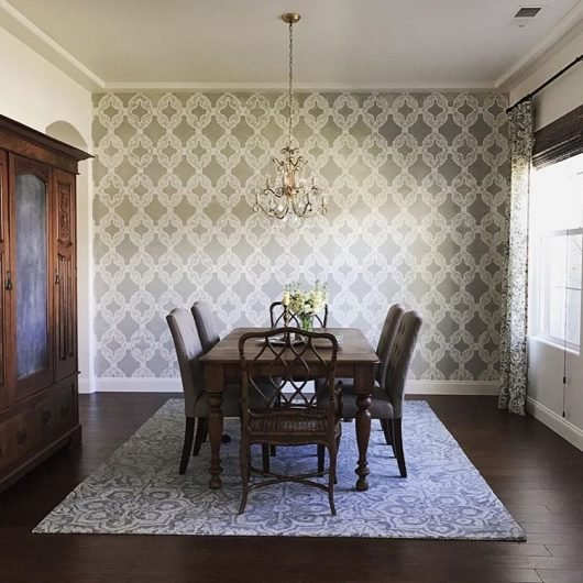 Stencil ideas to give your home a refresher stencil for Wallpaper for dining room feature wall