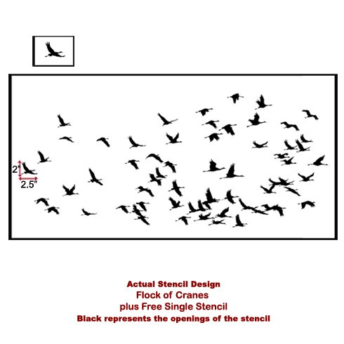 The Flock of Cranes Allover Stencil from Cutting Edge Stencils. http://www.cuttingedgestencils.com/bird-flock-wall-stencil-pattern.html