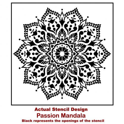 The Passion Mandala Stencil from Cutting Edge Stencils. http://www.cuttingedgestencils.com/passion-mandala-stencil-yoga-decal-wall-stencils-mandalas.html