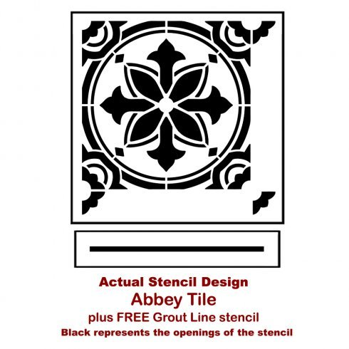 The Abbey Tile Stencil from Cutting Edge Stencils. http://www.cuttingedgestencils.com/Cement-tile-stencils-stenciled-floor-tiles.html