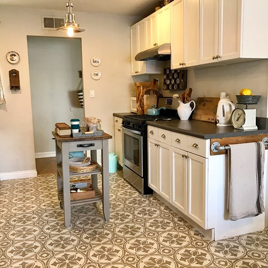 A DIY stenciled and painted linoleum kitchen floor using the Abbey Tile Stencil from Cutting Edge Stencils. http://www.cuttingedgestencils.com/Cement-tile-stencils-stenciled-floor-tiles.html