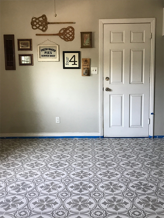 Learn how to prep, paint and stencil a linoleum kitchen floor using the Abbey Tile Stencil from Cutting Edge Stencils. http://www.cuttingedgestencils.com/Cement-tile-stencils-stenciled-floor-tiles.html