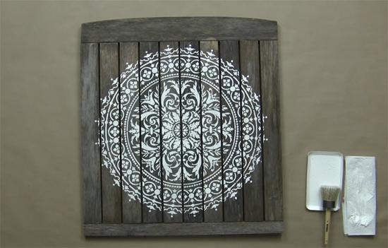 DIY reclaimed wood wall art using the Abundance Mandala Stencil from Cutting Edge Stencils. http://www.cuttingedgestencils.com/abundance-mandala-stencil-yoga-wall-stencils-mandalas.html