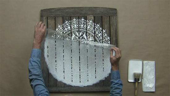 Learn how to make reclaimed wood wall art using the Abundance Mandala Stencil from Cutting Edge Stencils and an old table top pulled from the garbage. http://www.cuttingedgestencils.com/abundance-mandala-stencil-yoga-wall-stencils-mandalas.html