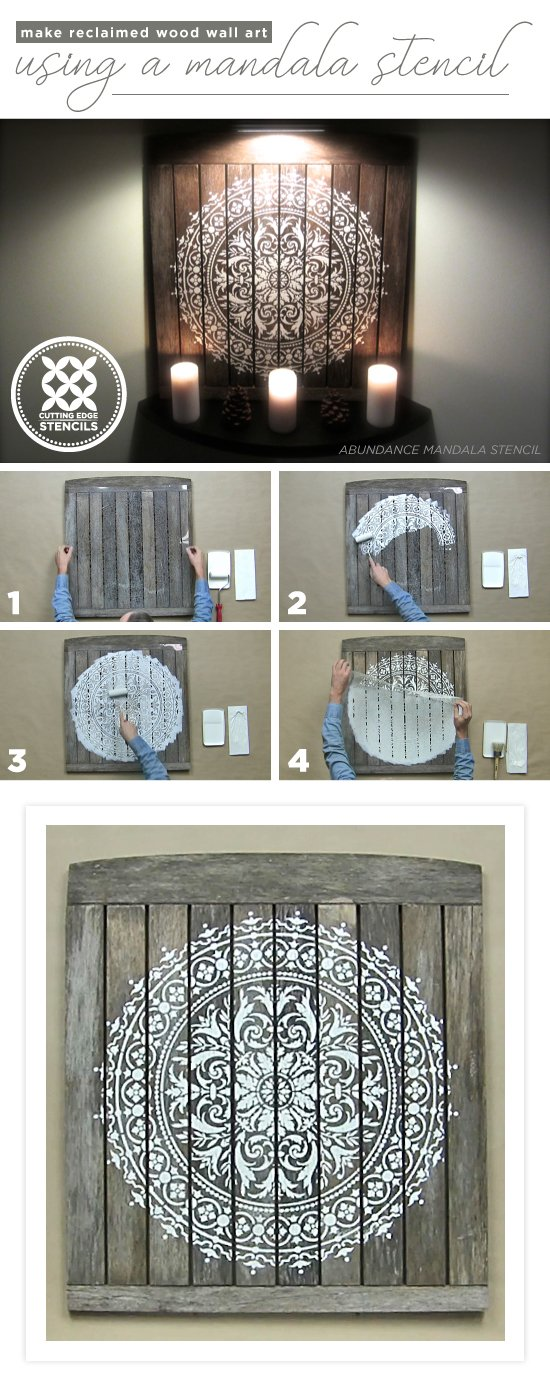 Cutting Edge Stencils Shares A Tutorial On How To Make DIY Reclaimed Wood Wall  Art Using