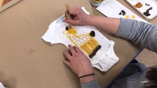 Learn how to stencil a fabric baby onesie using the Giraffe stencil inspired by April the Giraffe and a freebie with purchase from Cutting Edge Stencils. http://www.cuttingedgestencils.com/wall-stencils-stencil-designs.html