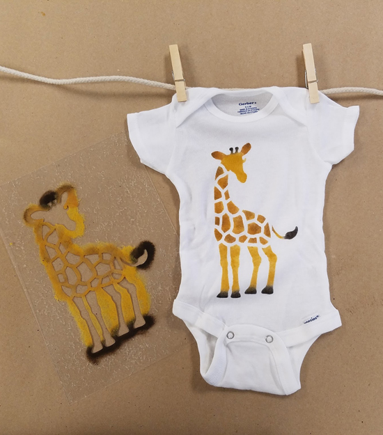 Cutting Edge Stencils shares a stencil tutorial on how to paint a custom baby onesie using the Giraffe stencil inspired by April the Giraffe and a freebie pattern with purchase. http://www.cuttingedgestencils.com/wall-stencils-stencil-designs.html