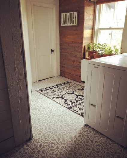 A DIY painted and stenciled laundry room floor using the Augusta Tile Stencil from Cutting Edge Stencils. http://www.cuttingedgestencils.com/augusta-tile-stencil-design-patchwork-tiles-stencils.html