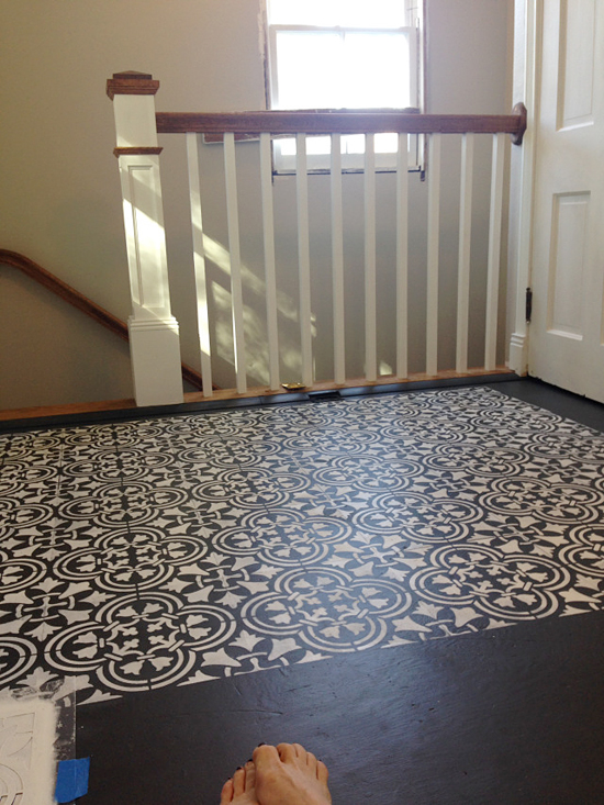 Learn how to stencil a guest bedroom plywood floor using the Augusta Tile Stencil from Cutting Edge Stencils. http://www.cuttingedgestencils.com/augusta-tile-stencil-design-patchwork-tiles-stencils.html