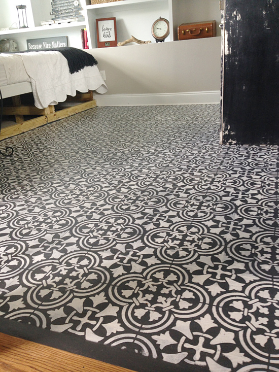 A Guest Bedroom With Stenciled Plywood Floor Using The Augusta Tile Stencil From Cutting Edge