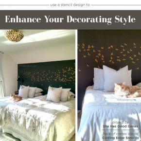 Cutting Edge Stencils shares how to stencil a DIY bedroom accent wall in metallic gold using the Flock of Cranes Stencil. http://www.cuttingedgestencils.com/bird-flock-wall-stencil-pattern.html