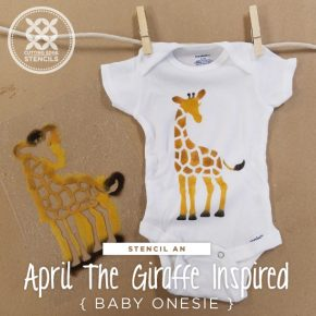Cutting Edge Stencils shares a stencil tutorial on how to paint a custom baby onesie using the Giraffe stencil, a freebie pattern with purchase that was inspired by April the Giraffe. http://www.cuttingedgestencils.com/wall-stencils-stencil-designs.html