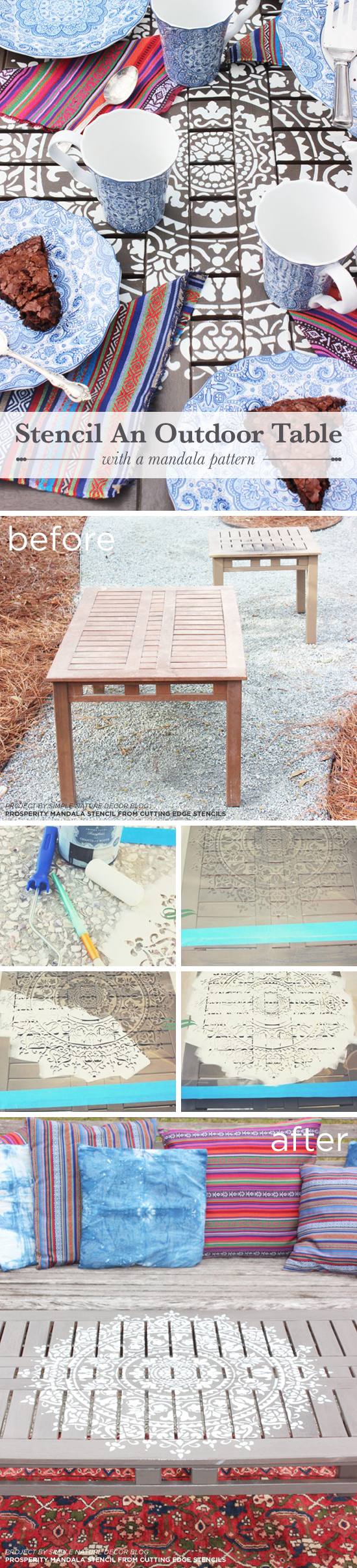 Cutting Edge Stencils shares a DIY stenciled outdoor wooden table using the Prosperity Mandala Stencil. http://www.cuttingedgestencils.com/prosperity-mandala-stencil-yoga-mandala-stencils-designs.html