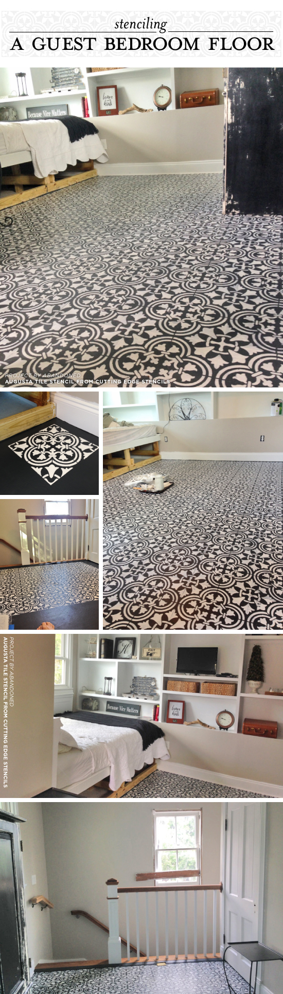 stenciling a guest bedroom floor with a tile pattern stencil stories cutting edge stencils shares a diy guest bedroom makeover with a stenciled plywood floor using the