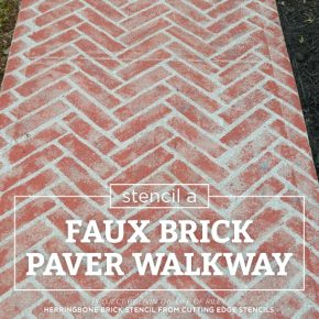 Cutting Edge Stencils shares a DIY painted faux brick cement walkway using the Herringbone Brick Allover Stencil. http://www.cuttingedgestencils.com/herringbone-brick-pattern-stencil-wall-decor.html