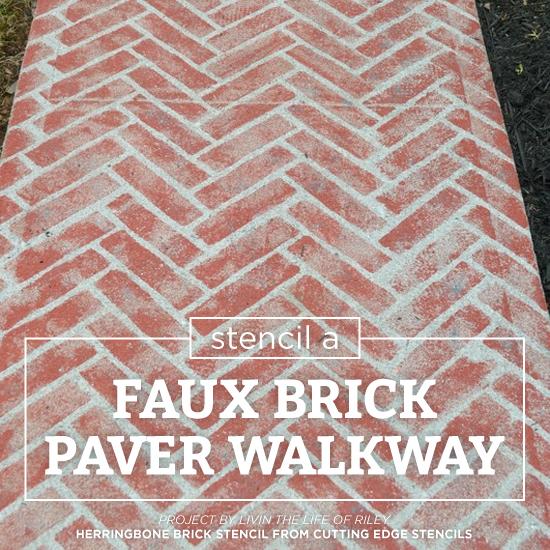 Stencil A Faux Brick Paver Walkway