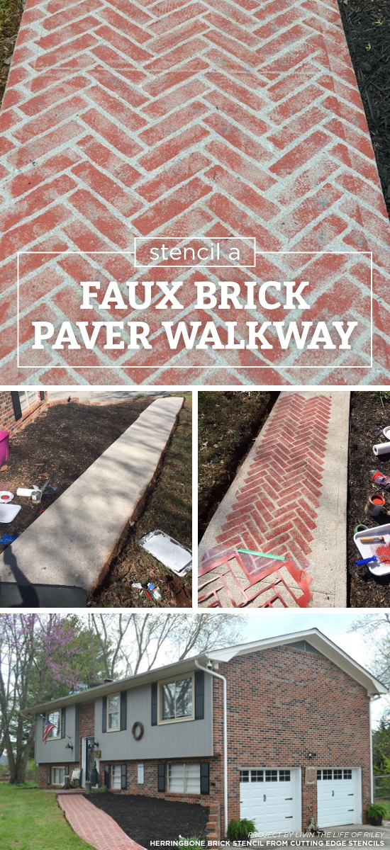 Cutting Edge Stencils Shares A Diy Painted Faux Brick Cement Walkway Using The Herringbone Allover
