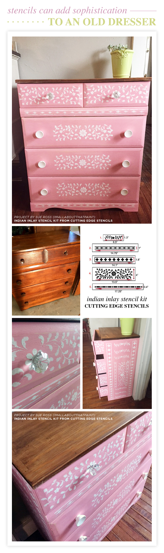 Cutting Edge Stencils shares how to stencil a pink dresser using the Indian Inlay Stencil Kit designed by Kim Myles. http://www.cuttingedgestencils.com/indian-inlay-stencil-furniture.html