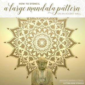Cutting Edge Stencils shares a tutorial on how to stencil an accent wall using a large 74 inch Radiance Mandala Stencil. http://www.cuttingedgestencils.com/radiance-mandala-stencil-yoga-mandala-stencils-decal.html