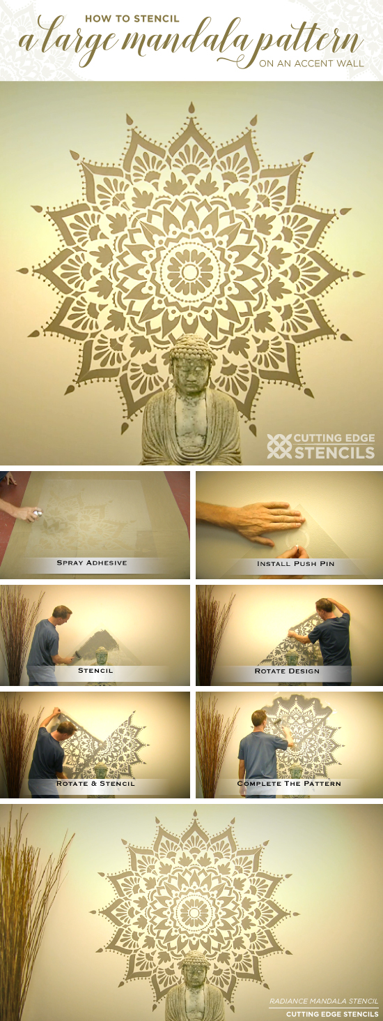 How To Stencil A Large Mandala Pattern On An Accent Wall - Stencil ...