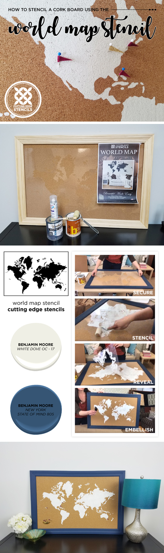 How to stencil a cork board using the world map pattern stencil cutting edge stencils shares how to stencil a cork board using the world map wall art gumiabroncs Images