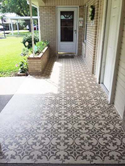 A DIY stenciled cement patio floor using the Fabiola Tile Stencil from Cutting Edge Stencils. http://www.cuttingedgestencils.com/fabiola-tile-stencil-spanish-portugese-tiles-stencils.html