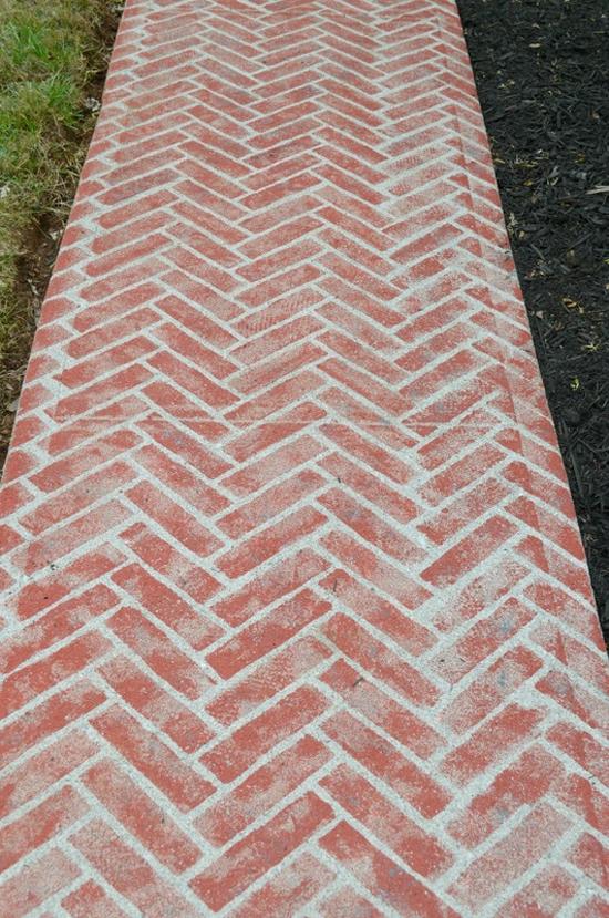 A DIY painted faux brick cement walkway using the Herringbone Brick Allover Stencil from Cutting Edge Stencils. http://www.cuttingedgestencils.com/herringbone-brick-pattern-stencil-wall-decor.html
