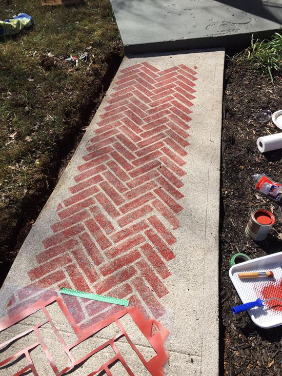 Learn how to paint a faux brick cement walkway using the Herringbone Brick Allover Stencil from Cutting Edge Stencils. http://www.cuttingedgestencils.com/herringbone-brick-pattern-stencil-wall-decor.html