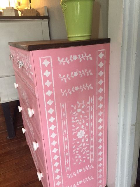 Learn how to stencil a pink dresser using the Indian Inlay Stencil Kit from Cutting Edge Stencils. http://www.cuttingedgestencils.com/indian-inlay-stencil-furniture.html